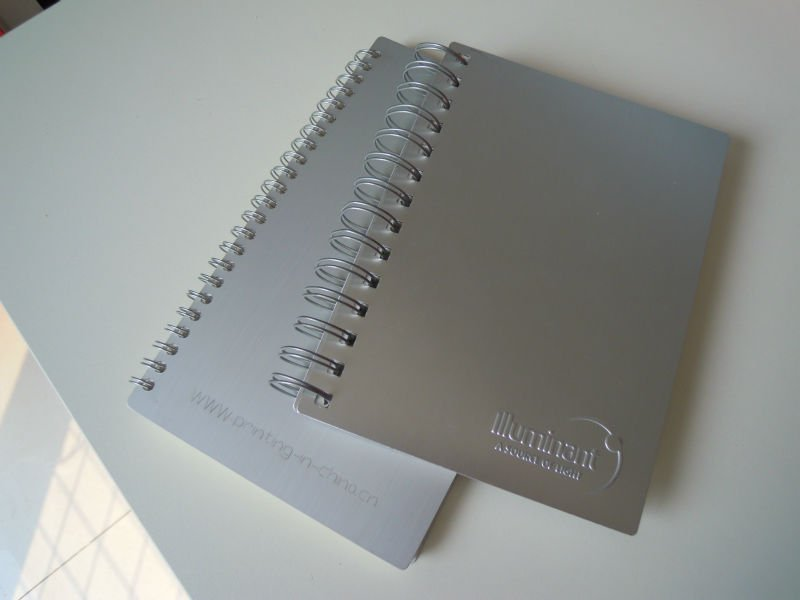 Spiral aluminum cover notebook with high quality