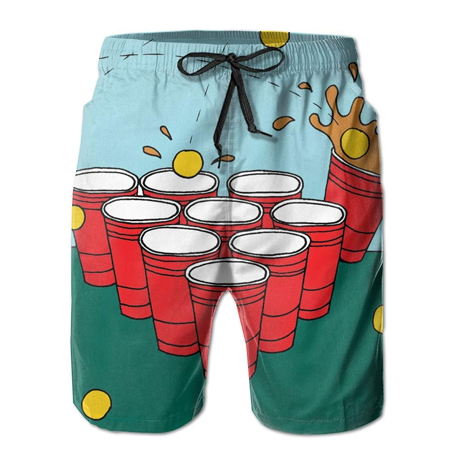 c03113f98dd45 Get Quotations · Cjhxqt Beer Pong Mens Boardshorts Swim Trunks Not Fade  Athletic Shorts Mens Swim Trunks
