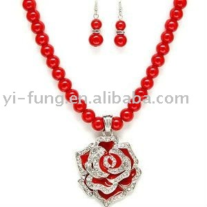 Chunky Red Rose Flower and Crystals Pendant Beaded Statement Necklace and Earrings Set Fashion Jewelry