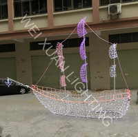 3D Decoration Boat Led Rope and String Motif Sailboat Light