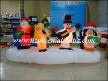Newest Xmas Decorations Inflatable Christmas Band with Santa ,Deer, Snowman and Penguin/ Inflatable Quartet