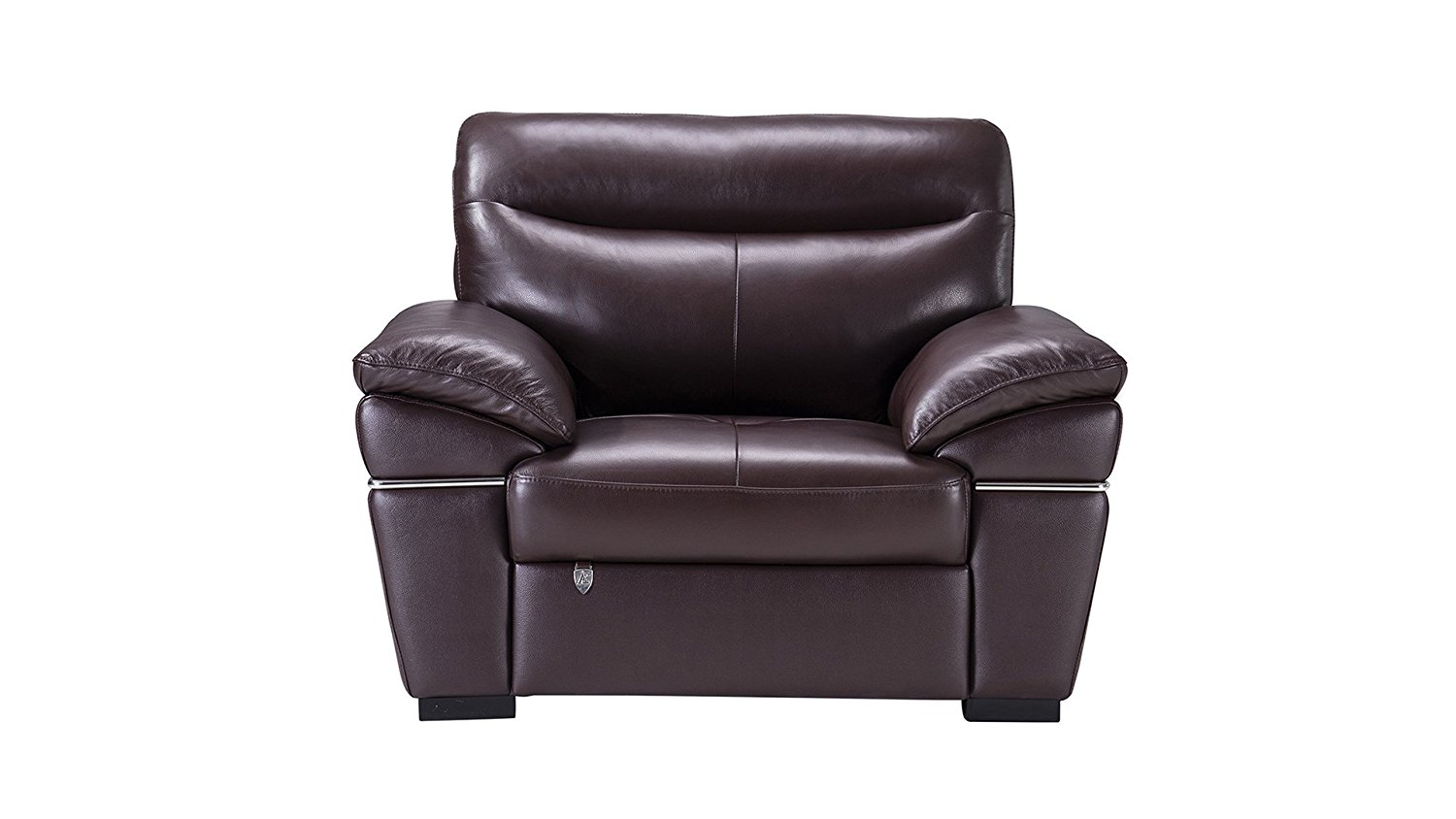 American Eagle Furniture Morris Collection Italian Leather Living Room Sofa Chair with Stainless Steel Trim, Dark Brown
