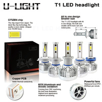 2017 NEWEST T1 LED headlights H1 H3 H4 H7 H8 H11 H13 9005 9006 9007 with Flip chip technology 26W 6000LM car LED headlights kits