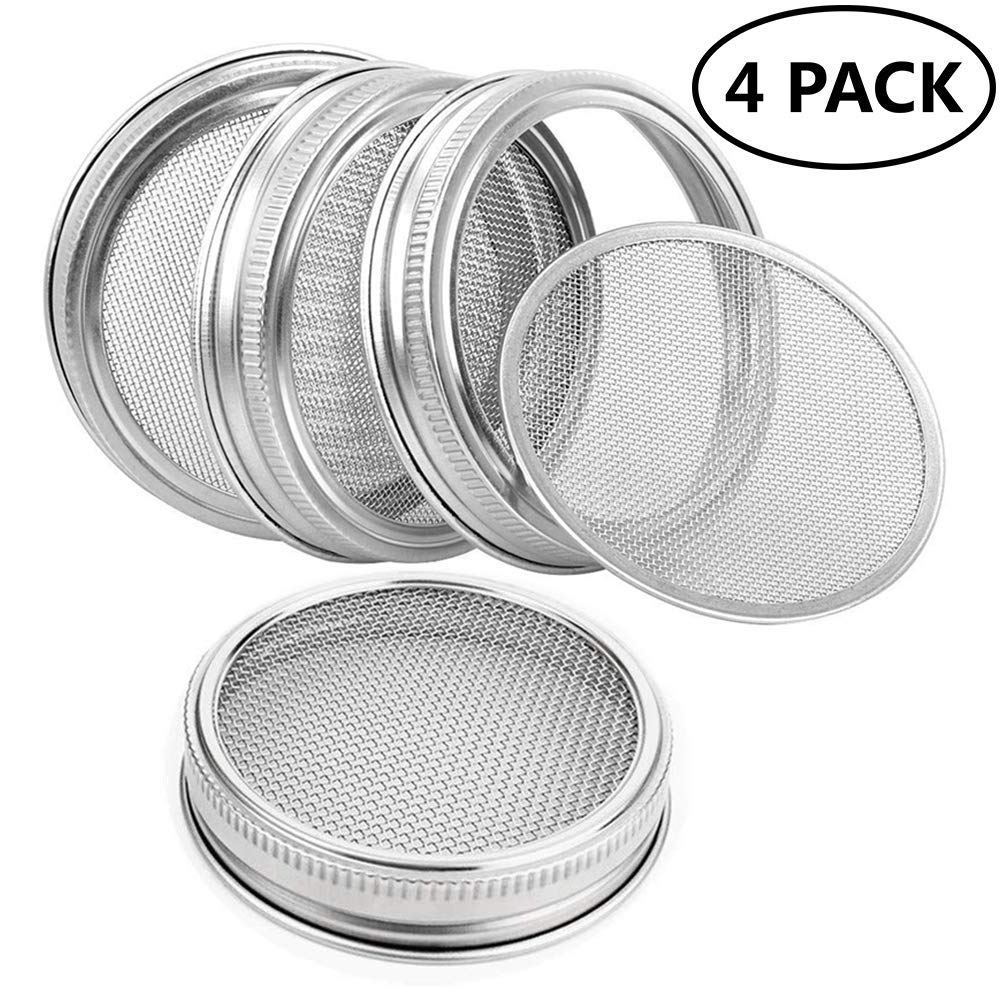 Sprouting Lids Kit for Wide Mouth Mason Jars Stainless Steel Sprouting Jar Lid for Growing Organic Sprouts,Strainer Lid for Seed Sprouting Jars(4pcs)