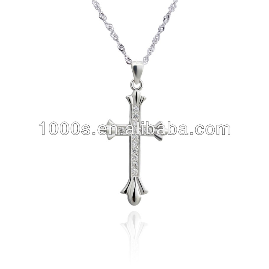 Sterling Silver Cross Pendant With cz Stone Wholesale