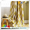 American wave design yellow and white color jacquard polyester fabric for bedroom/ livingroom curtain