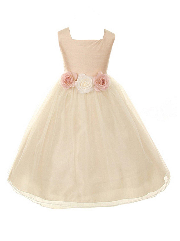 ea2405be823 Get Quotations · Kids Dream Little Girls Dusty Rose Floral Silk Tulle Flower  Girl Dress 6