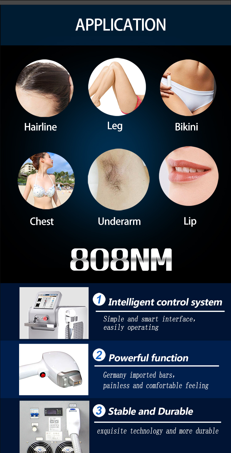 808Nm Diode Laser Beauty Equipment Permanent Hair Removal Machine