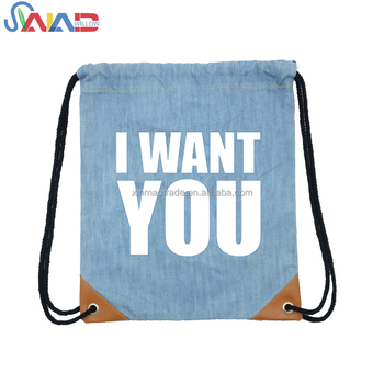 Fashion logo printed blue denim gym sack drawstring backpack bag