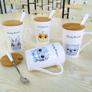 Ceramic Coffee Cup With Bamboo Lid For Daily Use