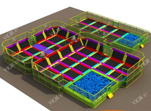 Europe standard indoor rectangular trampoline park with for Indoor trampoline park design manufacturing
