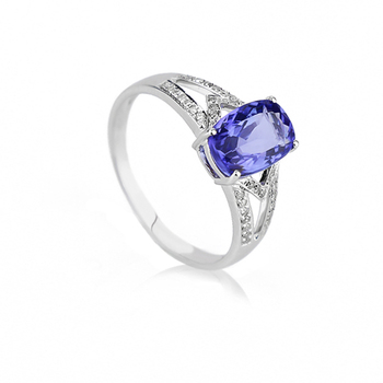 Custom design gemstone jewelry anniversary gift Tanzanite 18k gold engagement diamond ring