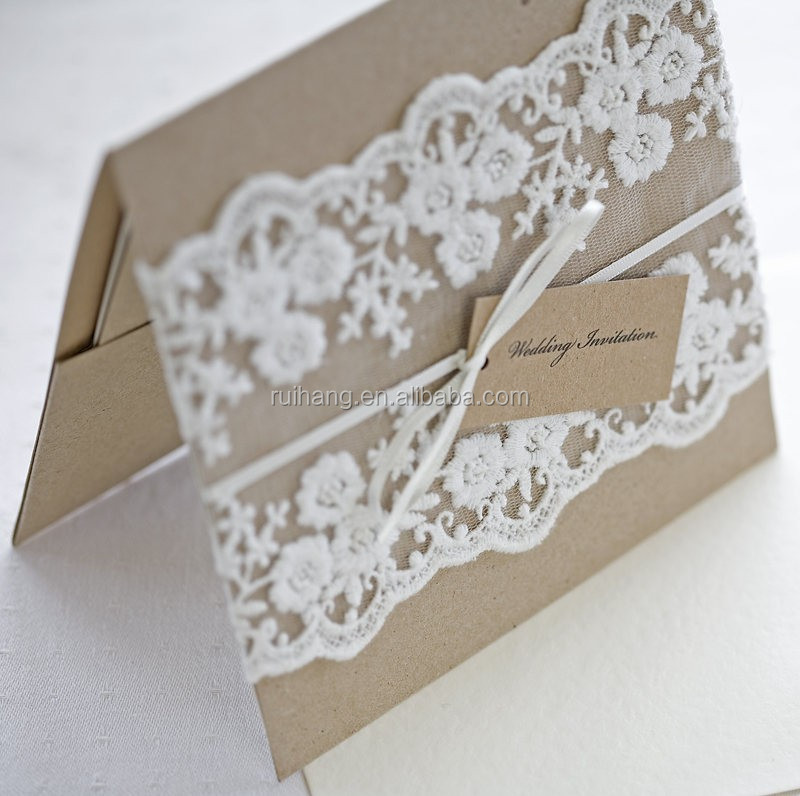 kraft paper wedding invitation with lace burlap rope buy tracing