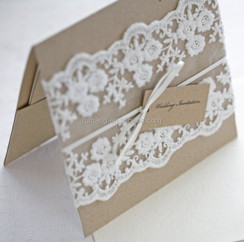 Kraft Paper Wedding Invitation With Lace Burlap Rope