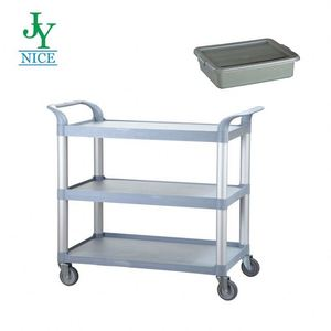 Heavy Duty 3 Tier folding service cart Hospital Cleaning hand pull plastic Trolley