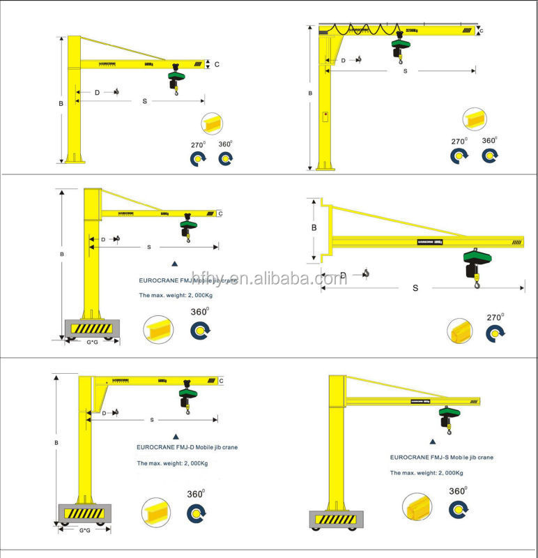 Small Cranemobile Column Jib Cranemanual Hoist 500kg