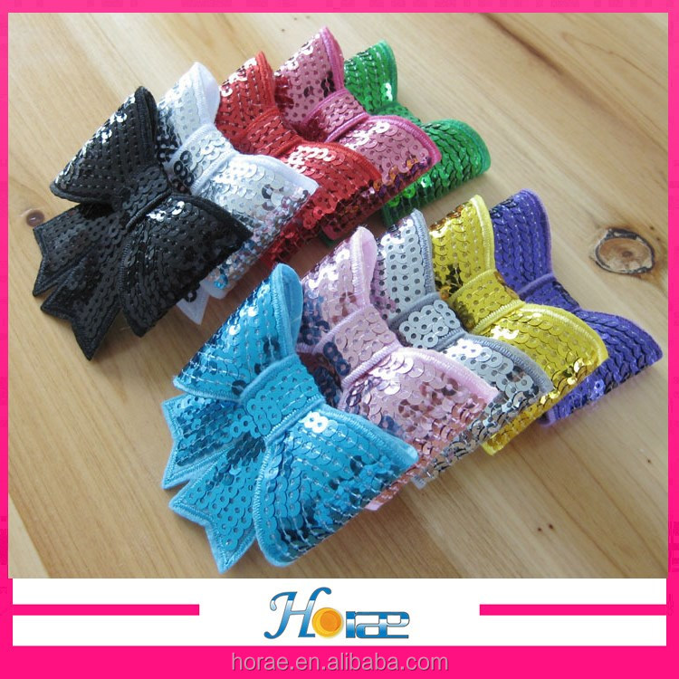 7.5*7cm 10 colors in stock handmade sequin bowknot <strong>hair</strong> <strong>accessory</strong> for little girls