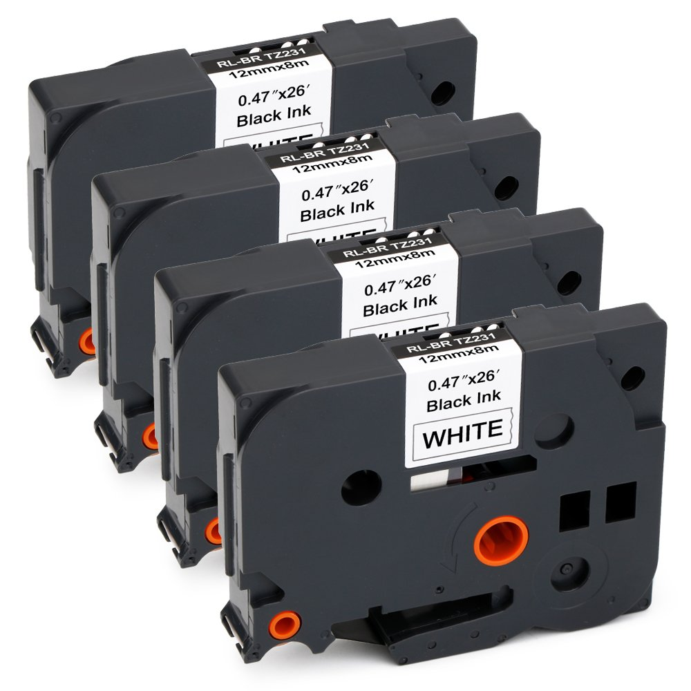 JARBO TZE231 Compatible Brother TZE-231 Label Tape Black on White, 4 Packs, 0.47 Inch x 26.2 Feet ( 12mm x 8m ), Used for Brother P-Touch PT-D210 PT-D200 PT-D400AD PT-D600 PT-H100 PT-P700 Label Marker