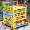 New Arrivals 2018 Push Along 8 in 1 Toys Wooden Activity Learning Cart for Baby AT12067
