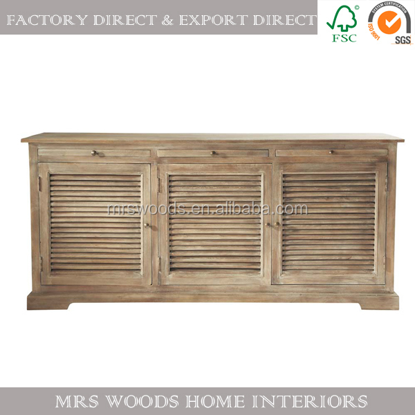 french antique oak wood 3 drawer 3 doors dining sideboard