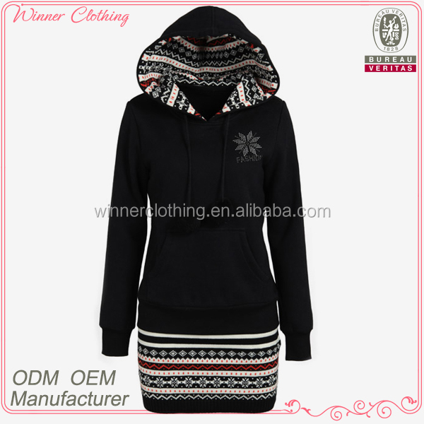 autumn/fall long sleeve viscose/wool high quality hoodies with embroidery hem
