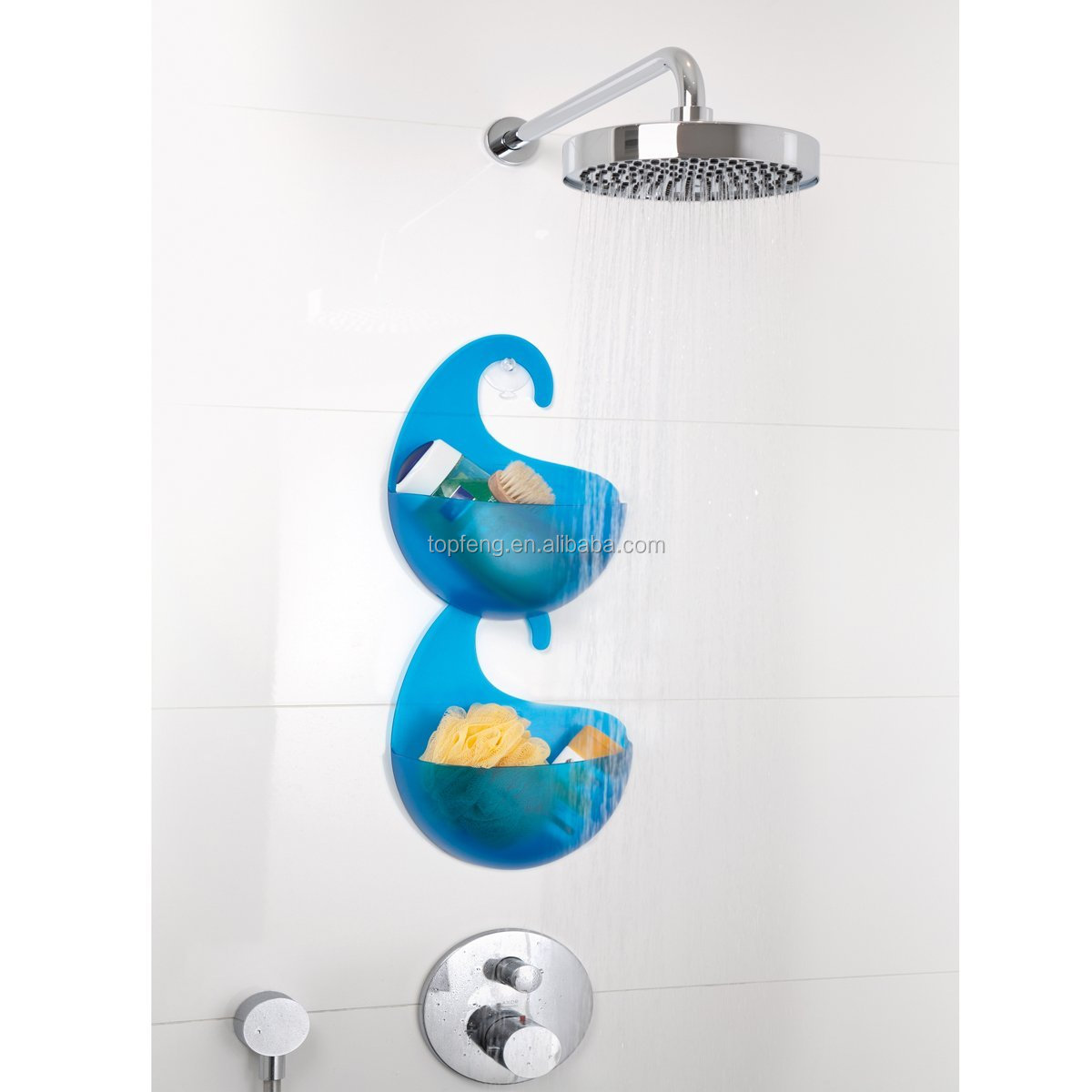 Plastic Bathroom Shower Caddy With Hook/ Plastic Bathing Storage Box With  Hook/Hanging Bathroom
