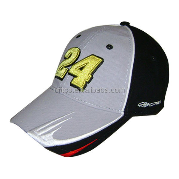 top quality embroidery cap,grey/black cotton baseball hat,custom racing hats