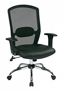 Avenue 6 Office Star 583814 Screen Back Chair with Leather Seat