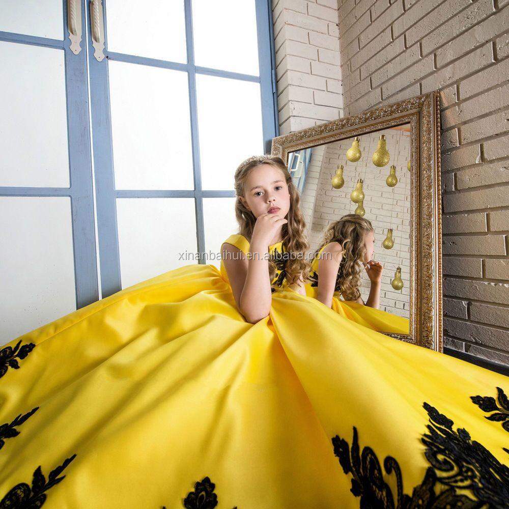 deluxe amarillo chica boda vestido bordado princesa vestido largo ropa del cabrito para aos de