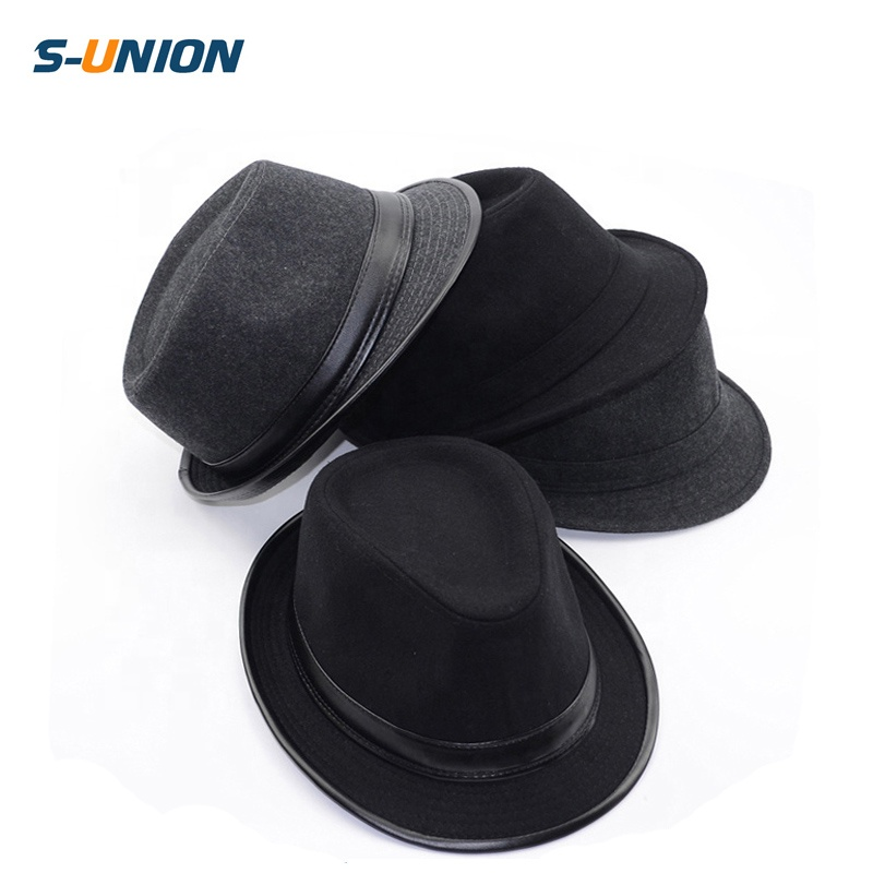 S-UNION Fashion decoration ladies wholesale custom wool felt mens fedora black  trilby hat b59b1ee1f68