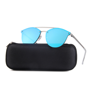 Trendy Italy designer double bridge cool metal mirror rimless sunglasses