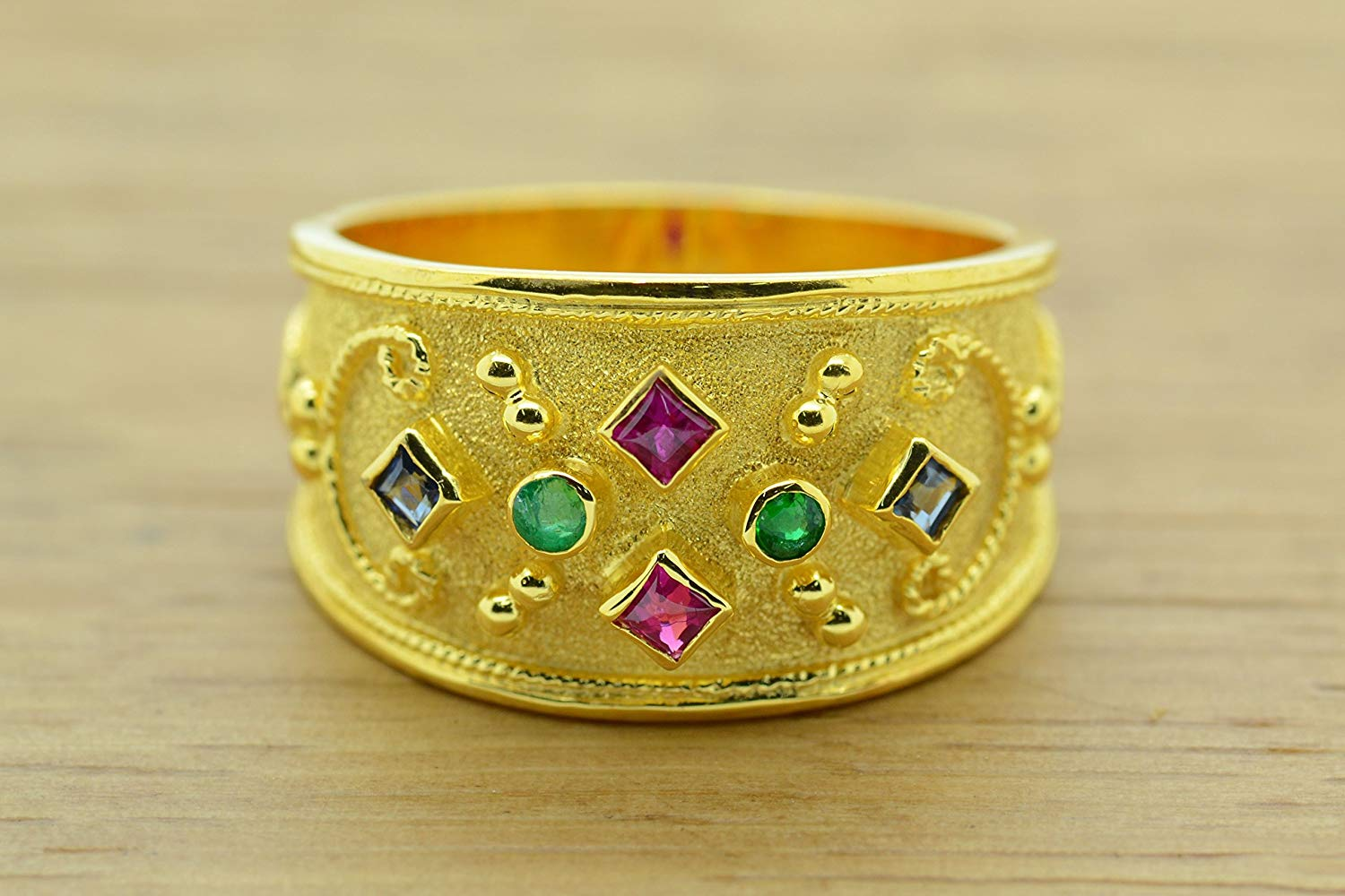 Ruby Emerald Sapphire Ring Byzantine Style 925 Sterling Silver Greek Handmade Art 22K Gold Plated, Byzantine Rubies Emeralds Sapphire CZ Ring, 22K Gold Plated Ring, CZ Band Ring, Sterling Silver Ring, Byzantine Ring, Greek Jewelry, Luxury Ring, Medieval Ring, Elegant Sterling Silver Ring, cubic