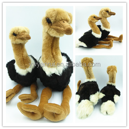 KK Stuffed Simulation Fur Plush Animal Pet Toy ostrich Toy