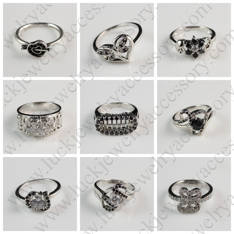 Silver Plated Simple Beautiful Flower Shaped White Zircon ...