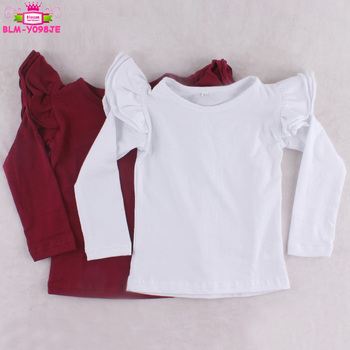 c95dc417a Boutique Baby Girls Long Sleeve Three Flutter T Shirt Solid Color Children  Plain White / Wine