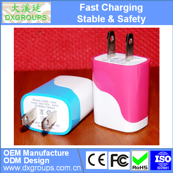 Dual Color Water Ripples AC US Plug USB Wall Charger Travel Adapter for iPhone For Samsung