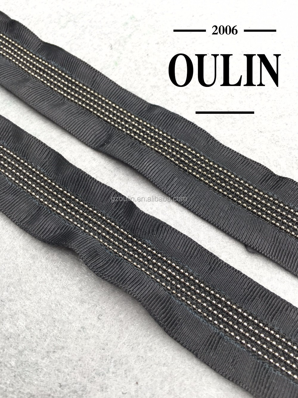 Polyester material tape ball chain lace trim copper chain lace trim black color trim for fashion clothes