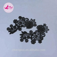 New design net mesh polyester embroidery lace/ water soluble black lace appliques in china