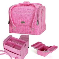 Professional Large Removable PU Leather Cosmetic Makeup Vanity Box Jewelry Saloon Case Bag