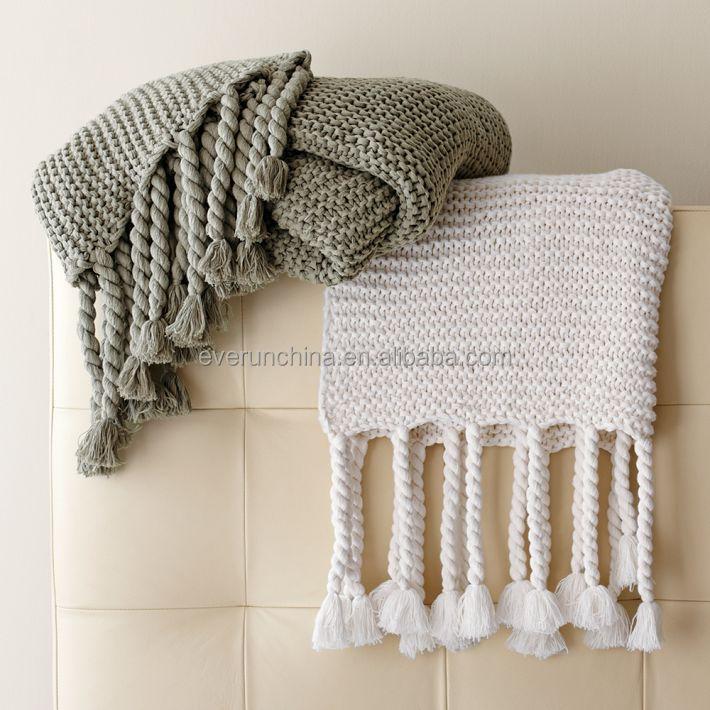 100 Cotton Knit Blanket White Plaid Throw For Sofas