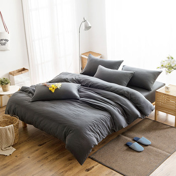 japan style muji plain datk gray stone washed plain pure color cotton yarn bedding set bed - Muji Bed Frame
