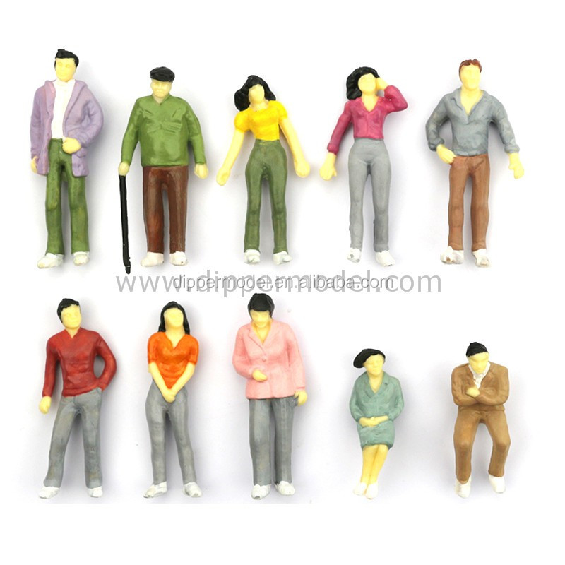 Various miniature plastic model human figurines for architectural model and train model layout