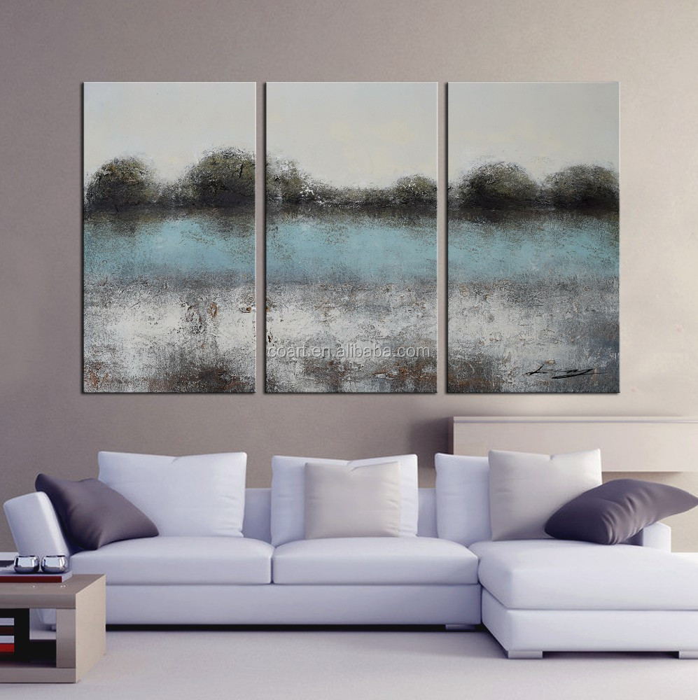 Modern abstract canvas wall oil painting of indian village
