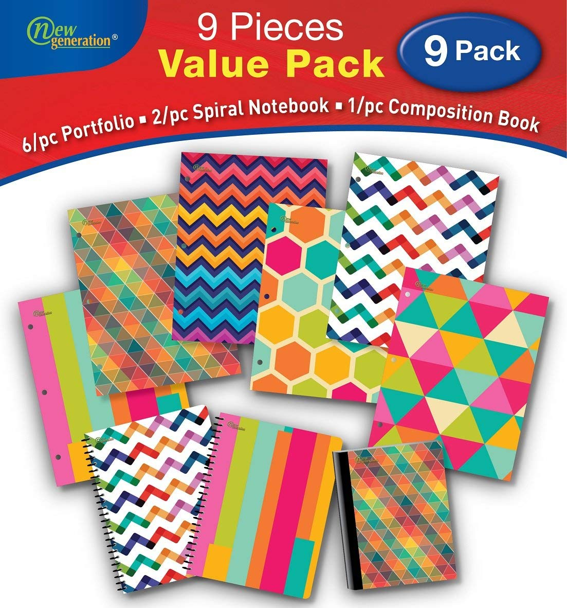 New Generation - Pattern - 9/PC Bundle Value Pack contain, 6/pc Folders, 2/pc Spiral Notebooks,1/pc Composition Book - 9/pcs Bundle set, (WIDE Ruled 9 PIECE VALUE PACK)