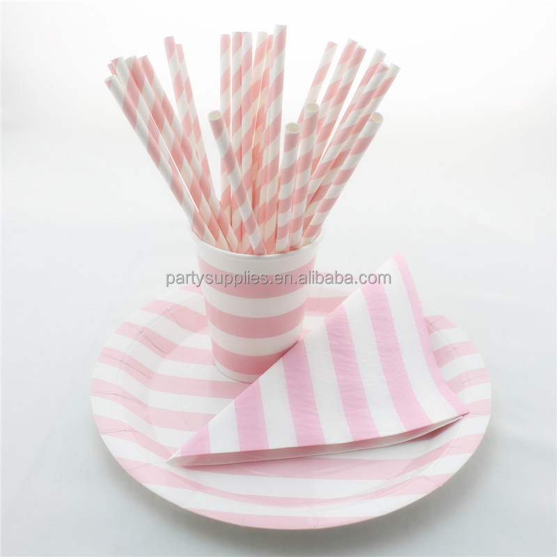 Party Tableware Wholesale Sweet Baby Pink Striped Paper Straws Cups Plates Napkins & Party Tableware Wholesale Sweet Baby Pink Striped Paper Straws Cups ...