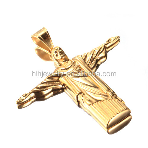 Wholesale gold jesus christ statue men simple gold pendant design