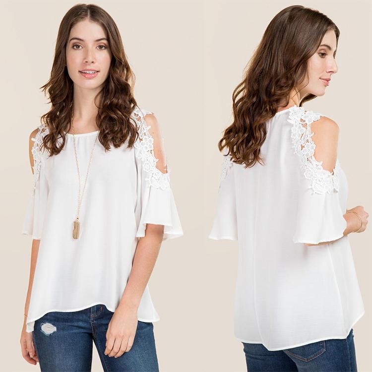 9c14e8925f8a2b Wholesale ladies clothing crochet cold shoulder pink linen lace blouses and tops  blouses