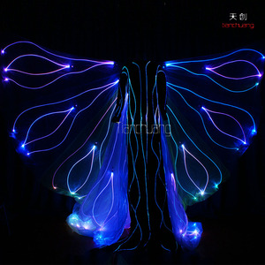 RF Remote controlled fiber optic fairy wings, LED belly dance wings, fiber optic angel wings