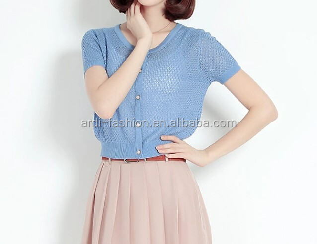 custom wholesale crew neck short sleeve spring summer knitwear