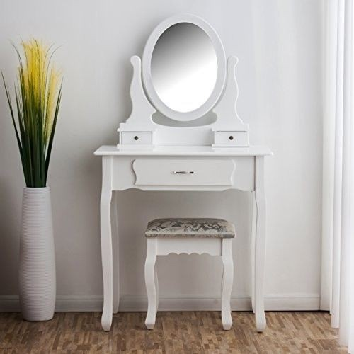 Small White Dressing Table Set Mirror Stool Vintage Makeup